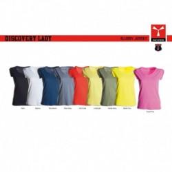 t-shirt discovery lady payper donna ampio scollo con manica corta jersey 135gr effetto fiammato