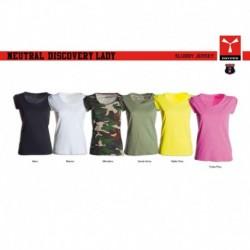 t-shirt neutral discovery lady payper donna ampio scollo con manica corta jersey 135gr effetto fiammato