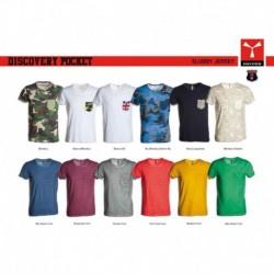 t-shirt discovery pocket payper uomo a girocollo con manica corta e taschino jersey 135gr effetto fiammato