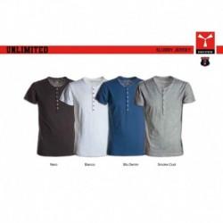 t-shirt unlimited payper uomo manica corta con apertura con bottoni jersey 135gr effetto fiammato