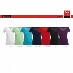 t-shirt fencer payper donna con collo a v e manica corta jersey 150gr