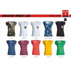 t-shirt discovery pocket lady payper donna a girocollo con manica corta e taschino jersey 135gr effetto fiammato