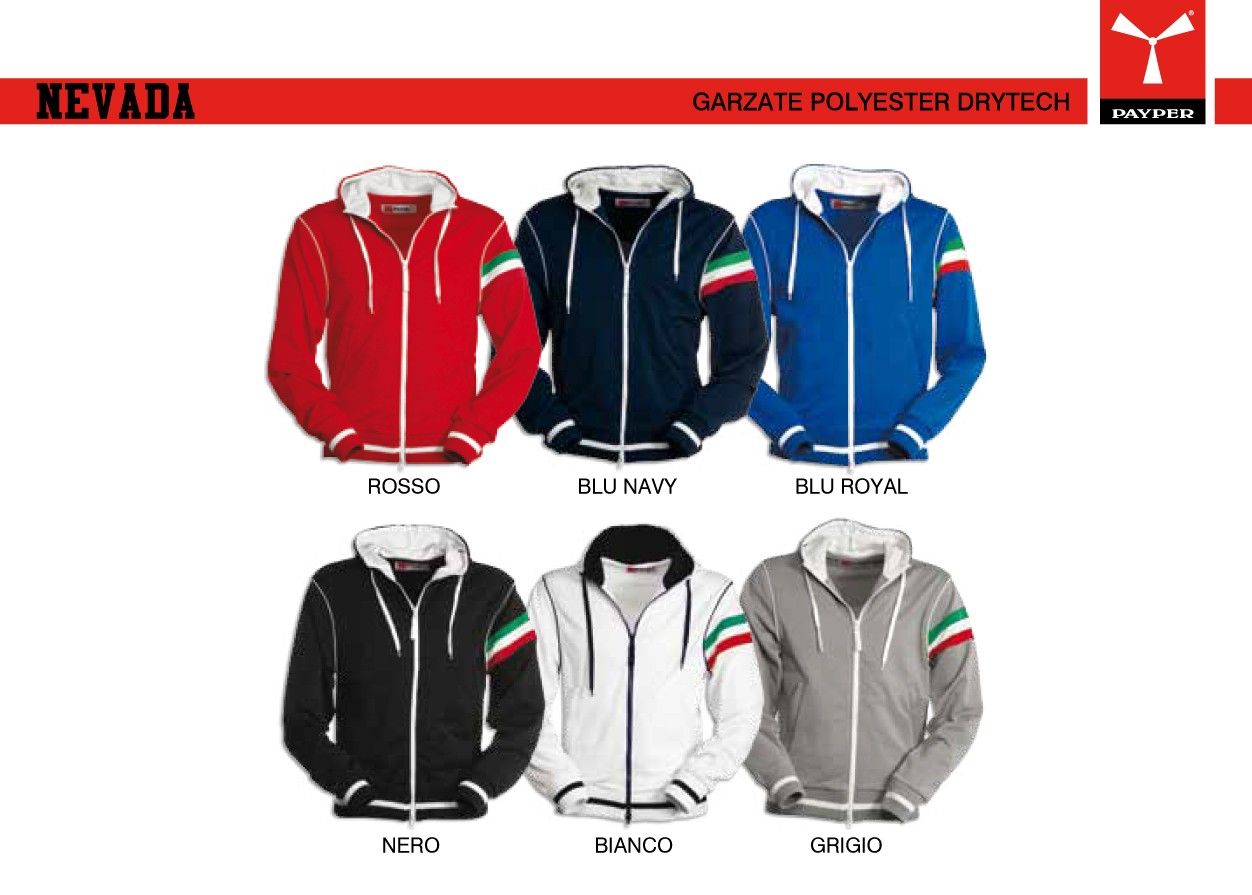 reputable site 44695 c95cd Felpa NEVADA PAYPER uomo tricolore giromanica full zip con ...