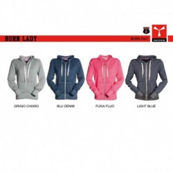 Felpa burn LADY PAYPER donna full zip con cappuccio garzata 250gr effetto burn out