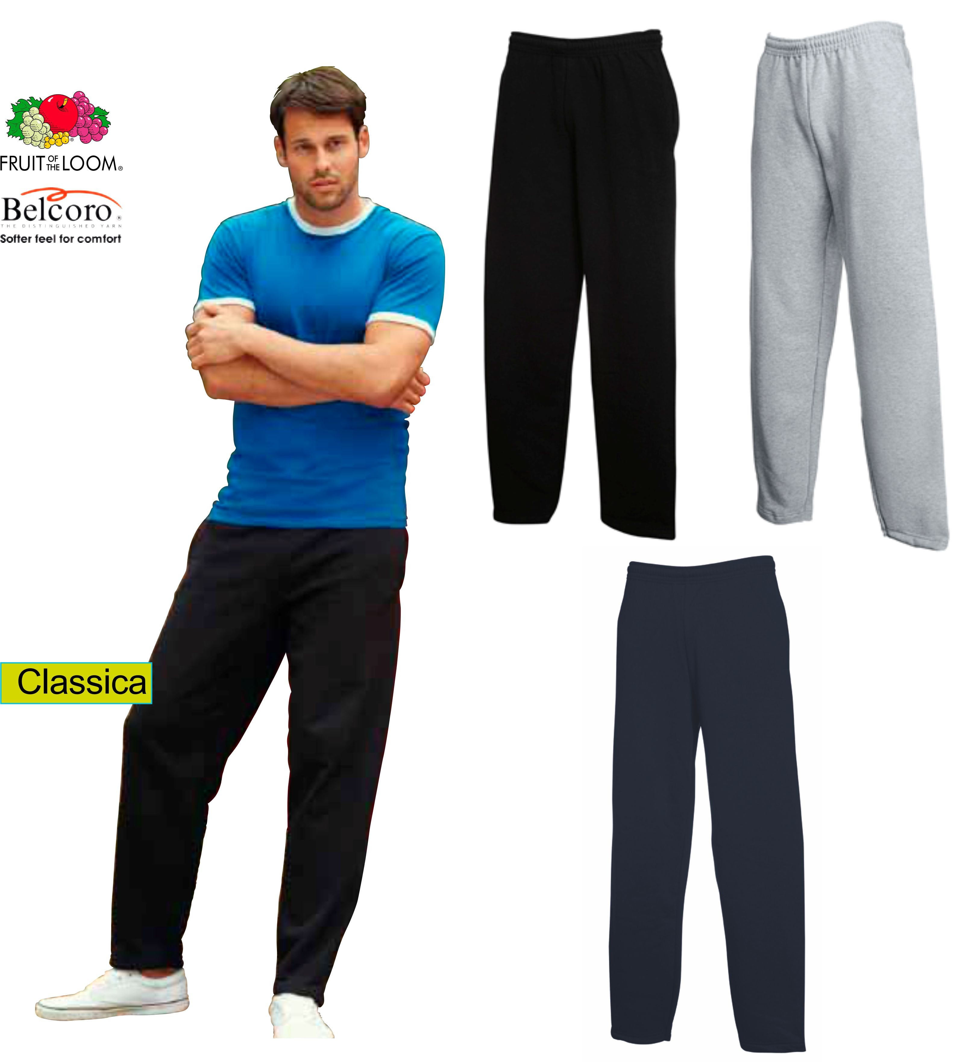 6e395f0a0d6cb4 PANTALONE FRUIT OF THE LOOM FR640320 TUTA COTONE UOMO FELPATI - Chico  Bonito Shop