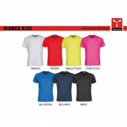 T-shirt RUNNER KIDS PAYPER bambino a girocollo con manica corta jersey 150gr con 7%viscosa