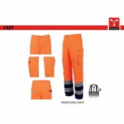 Pantalone FAST PAYPER alta visibilita' multitasche con bande hv satin fustagno 340g
