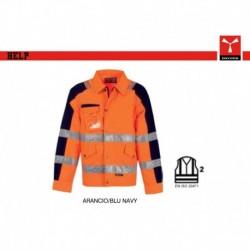 Giubbotto giacca HELP PAYPER alta visibilita' imbottito con maniche staccabili satin fustagno 340g