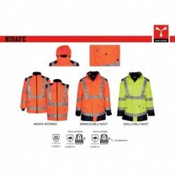 Giubbotto giacca HISAFE PAYPER alta visibilita' bicolore triplo-uso oxford 300d 200gr spalmato pu
