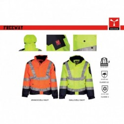 Giubbotto giacca FREEWAY PAYPER alta visibilita' bicolore con cappuccio oxford 300d 200gr spalmato pu