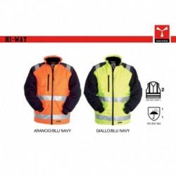 Giubbotto giacca HI WAY PAYPER alta visibilita' bicolore, imbottito e con maniche staccabili oxford 300d 165gr