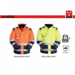 Giubbotto giacca HI SPEED PAYPER alta visibilita' bicolore, imbottito e con maniche staccabili oxford 300d 165gr