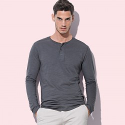 T-Shirt ST9460 STEDMAN Uomo SHAWN LONG SLEEVE HENLEY 100%C
