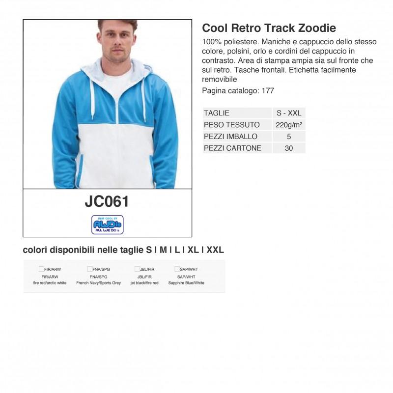 Felpa JC061 AWDIS Uomo Cool Retro Track Zoodie