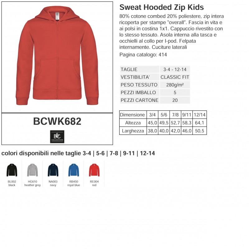 BCWK682 Felpa Cappuccio Zip Bambino