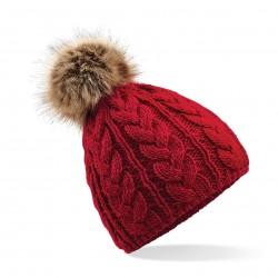 Cuffia BEECHFIELD B410 D cappello Unisex Fur Pom Pom Cable Beanie 100% acrilico