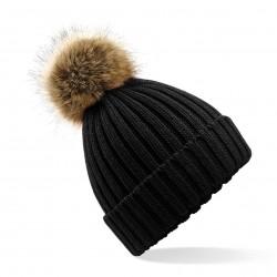 Cuffia BEECHFIELD B412 D cappello unisex Fur Pom Pom Chunky Bean 100% acrilico