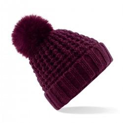 Cuffia in maglia BEECHFIELD B415 Donna Berretto Popcorn Fur Pom Pom cappello
