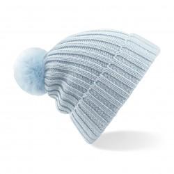 Cuffia BEECHFIELD B417 U Unisex Arosa Bobble Beanie cappello maglia a costine e pon pon