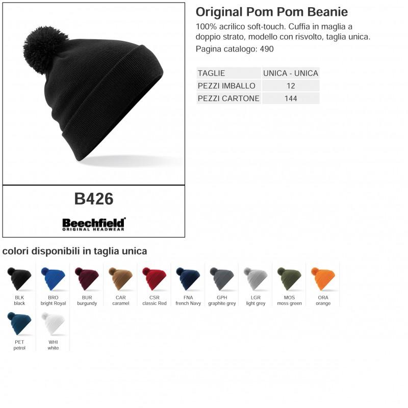 21a93fdb867 Cuffia BEECHFIELD B426 U Unisex Original Pom Pom Beanie 100 ...