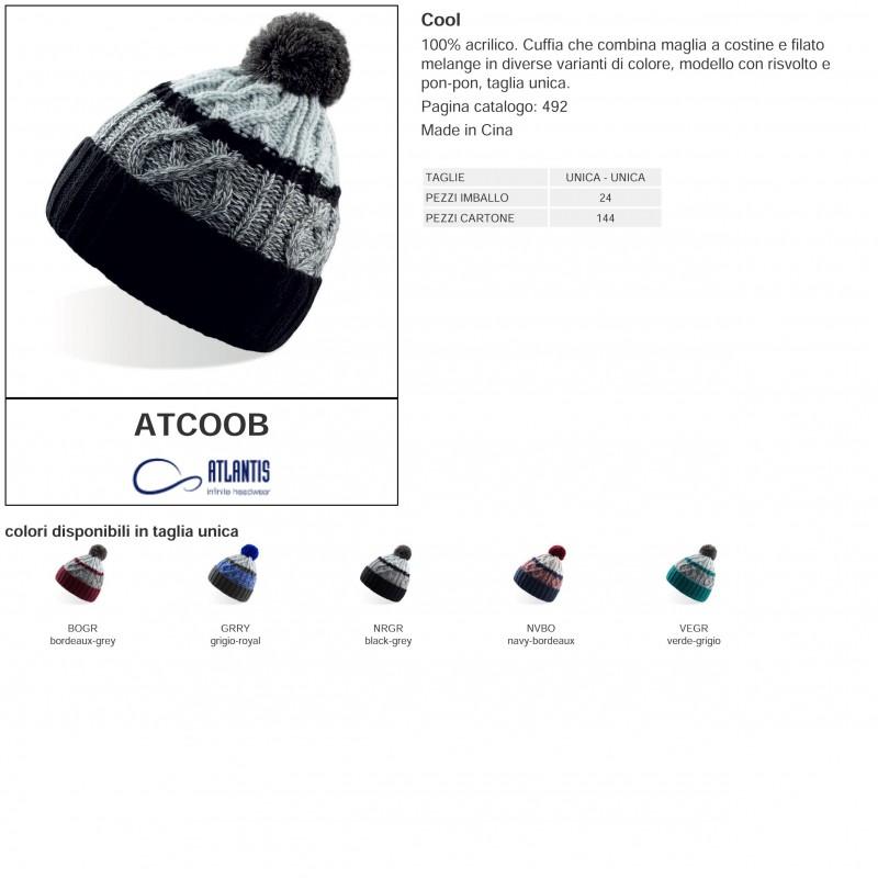 Cuffia ATLANTIS ATCOOB Unisex D COOL 100% acrilico pon-pon 6f87ab8cc8b5