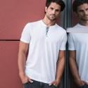 T-shirt uomo JE168M RUSSELL cuciture decorative e abbottonatura interna 155g/m