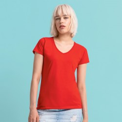 T-Shirt FRUIT OF THE LOOM FR614440 Donna LADIES 150 V-NECK T 100% COT Manica corta,Setin