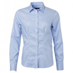 Camicia JAMES & NICHOLSON JN681 Donna W Shirt LS Micro Twill 100%C Manica lunga