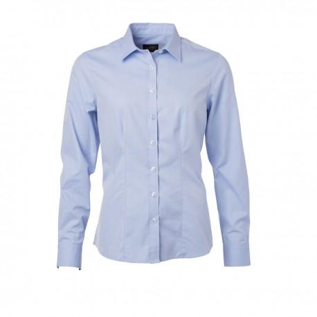 Camicia JAMES & NICHOLSON JN689 Donna W Shirt LS Heringbone 84%C16%P Manica lunga