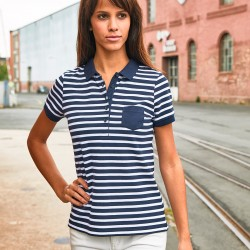 Polo JAMES & NICHOLSON JN8029 Donna Ladies' Polo Striped 100%OCS Manica corta,Setin