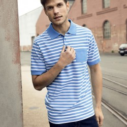 Polo JAMES & NICHOLSON JN8030 Uomo Men's Polo Striped 100%OCS Manica corta,Setin