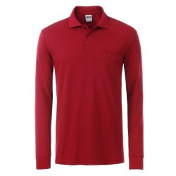 Polo JAMES & NICHOLSON JN866 Uomo M Workwear Polo LS 50%C 50%P Manica lunga