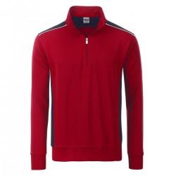 Felpa JAMES & NICHOLSON JN868 Unisex Workwear Half-Zip L2 70%C30%P Manica lunga,Setin