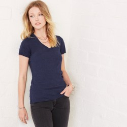 T-Shirt BELLA+CANVAS BE8435 Donna W/TRIBLEND V NECK 50%P25%C25%R Manica corta,Setin
