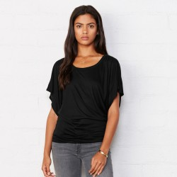 T-Shirt BELLA+CANVAS BE8821 Donna FLOWY DRAPED SLEEVE 65%P 35%V Manica corta,Setin