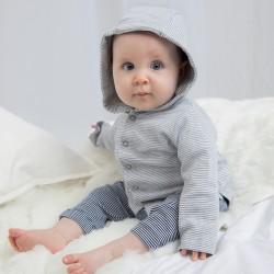 Felpa BABYBUGZ MABZ47 Baby Baby Striped Hooded T 100%C Manica lunga