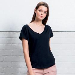 T-Shirt MANTIS MAM147 Donna Women's Loose Fit V Neck 100%C Manica corta,Setin