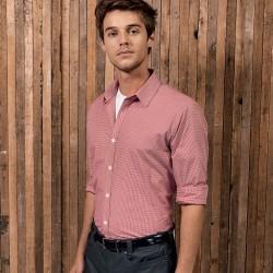 Camicia PREMIER PR220 Uomo Men's Microcheck ls shirt 100% Manica lunga