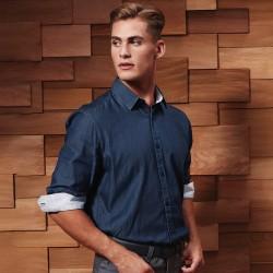Camicia PREMIER PR259 Uomo Men's Denim-Pindot LS Shirt100 Manica lunga
