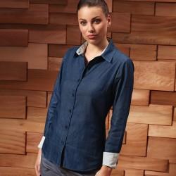 Camicia PREMIER PR359 Donna W Denim-Pindot LS Shirt 100%C Manica lunga