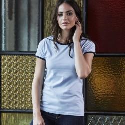 T-Shirt TEE JAYS TJ5071 Donna Ladies Ringer Tee 100%C Manica corta,Setin