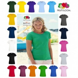 T-SHIRT VALUEWEIGHT DONNA FRUIT OF THE LOOM TUTTI I COLORI MAGLIA FR613720 LADY FIT SAGOMATA