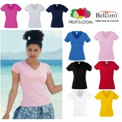 T-SHIRT VALUEWEIGHT DONNA SCOLLO A V FRUIT OF THE LOOM TUTTI I COLORI MAGLIA FR613980 LADY FIT SAGOMATA 100% COTONE