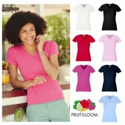 T-SHIRT ADERENTE DONNA SCOLLO A V FRUIT OF THE LOOM TUTTI I COLORI MAGLIA FR613820 LADY FIT SAGOMATA