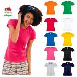 T-SHIRT FRUIT MORBIDA SOFTSPUN DONNA FR614140 MANICA CORTA 100%COTONE