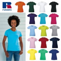 T-SHIRT RUSSELL LADY MANICA CORTA ADERENTE GIROCOLLO DONNA 100%COTONE 145GR JE155F