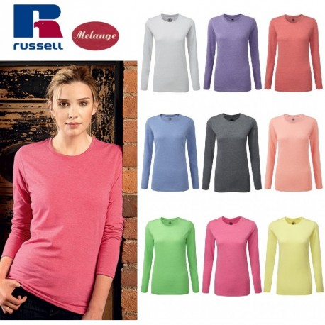 SHIRT MANICHE MISTO HD T RUSSELL JE167F T LADY LUNGHE DONNA COTONE Fzq4UUwdx